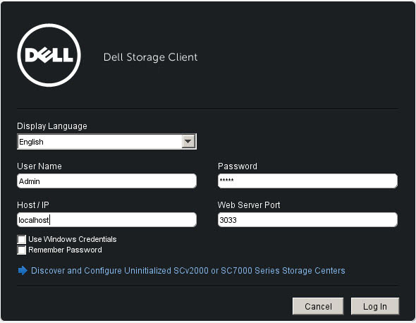 Connect to a Storage Center with the Dell Storage Manager Client